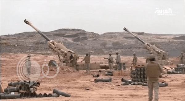 فيديو: لحظة قصف المدفعية لمواقع حوثية على حدود المملكة
