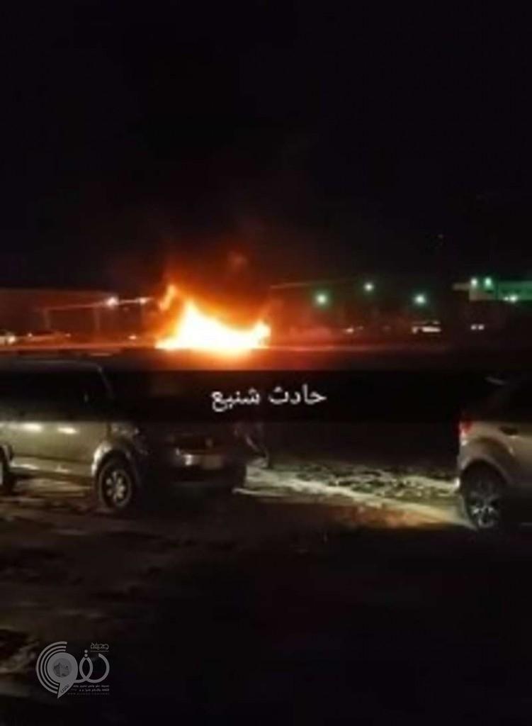 """إصابة ثلاثة شبان وسقوط عمود كهرباء واندلاع النيران فى ليلة مرعبة بجازان .. """"فيديو"""""""