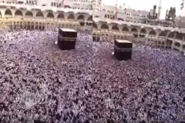 فيديو: مشهد مهيب لتوقف حركة المطاف بالحرم جراء الزحام الشديد