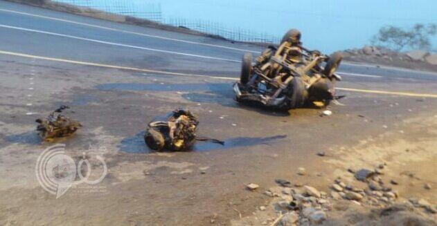 وفاة شاب وإصابة آخرين جراء انزلاق مركبة من عقبة فيفاء (صور)