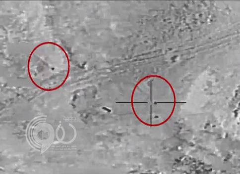 بالفيديو:التحالف يستهدف قادة حوثيين على حدود نجران