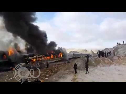 فيديو.. تصادم مروع بين قطارين للركاب في إيران واشتعال النيران فيهما