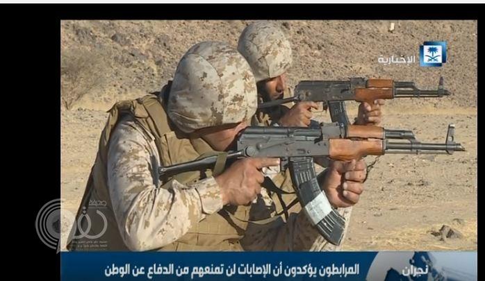 بالفيديو.. عسكري سعودي يصاب بطلقتين في البطن ويعود للحد الجنوبي