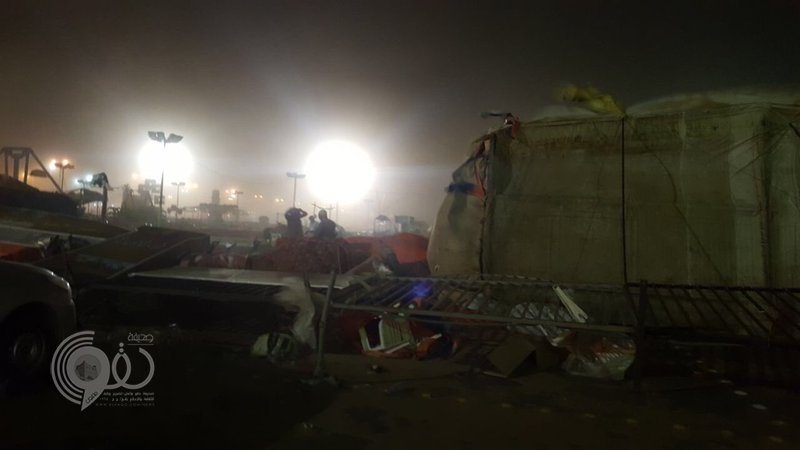 سقوط ألعاب هوائية في مهرجان صبيا بسبب الرياح.. وإصابة أحد حراس الأمن