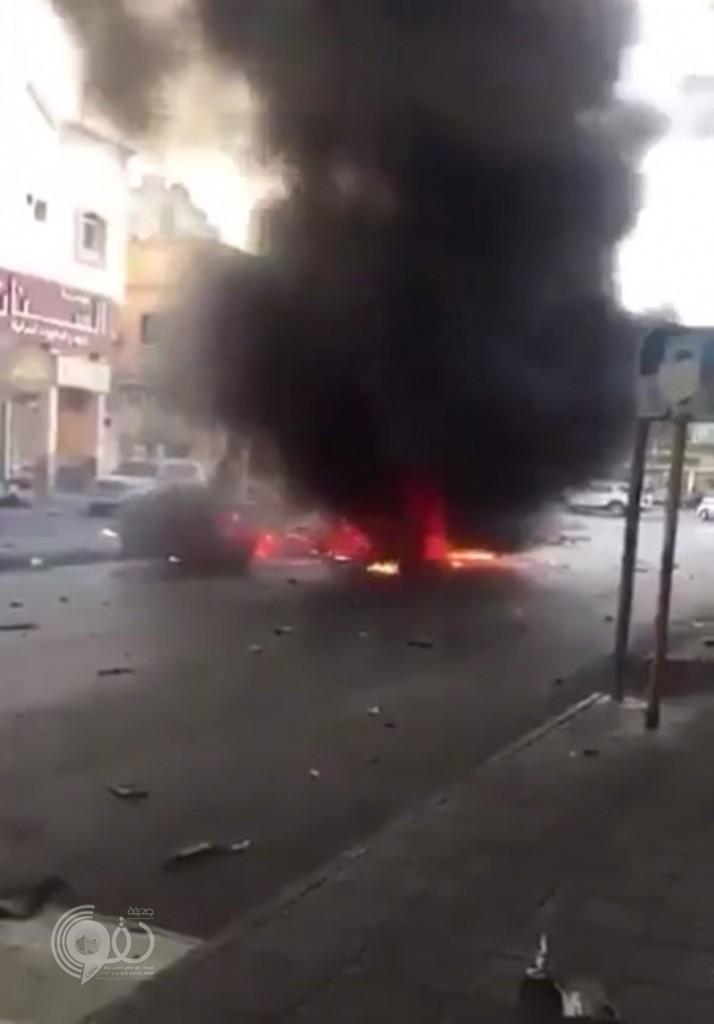 انفجار سيارة مفخخة بالقطيف ووجود جثث للإرهابيين بداخلها .. فيديو