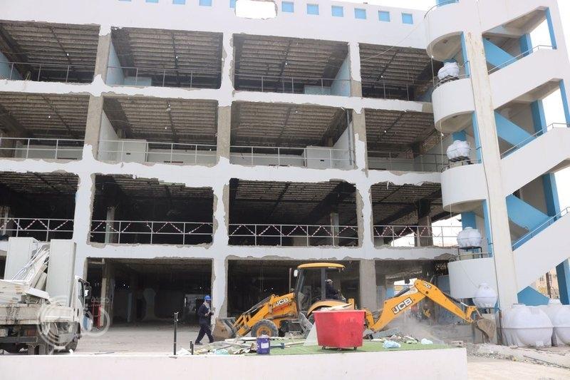 بدء العمل في مشروع تأهيل برج مستشفى جازان الطبي بعد عامين من احتراقه