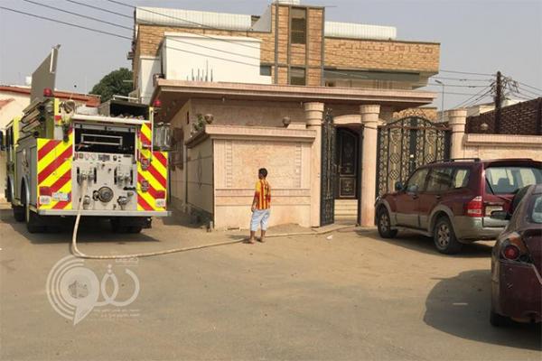 """بالصور.. """"الدفاع المدني"""" يسيطر على حريق بمنزل في صبيا"""