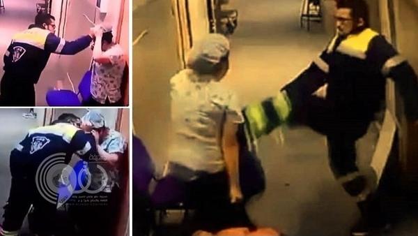 شاهد.. جريمة مروعة: طبيب يضرب ممرضة حاملاً في بطنها!