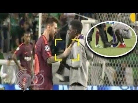 بالفيديو .. مشجع يقتحم مباراة برشلونة ولشبونة ويقبل قدم ميسي