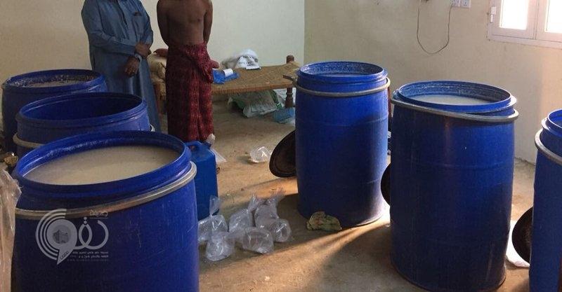شرطة منطقة جازان تضبط مصنع خمور بالمسارحة تديره عمالة مخالفة