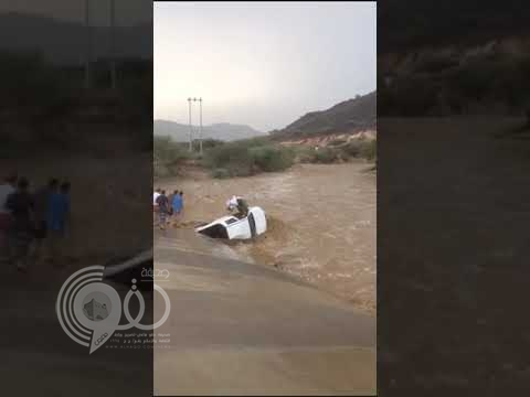 بالفيديو.. في مشهد وثّق لحظات رعب وادي المسلة بجازان يجرف المركبات