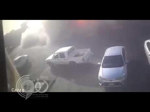 شاهد لحظة انفجار خزان وقود بمحطة النقل الجماعي في سكاكا.. كاد يتسبب في كارثة
