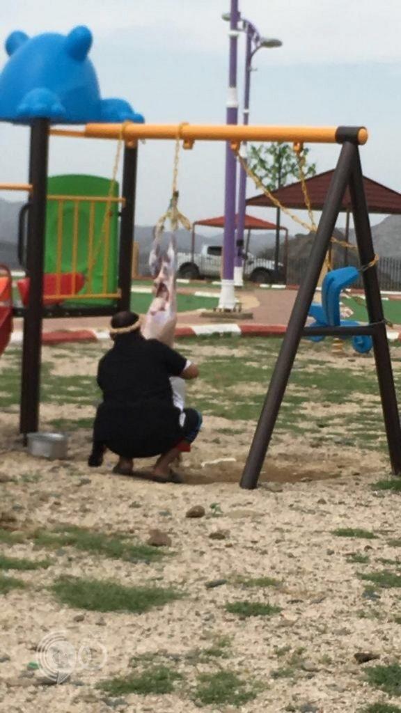 جازان.. توقيف مواطن سلخ ذبيحته على أرجوحة أطفال وسط متنزه