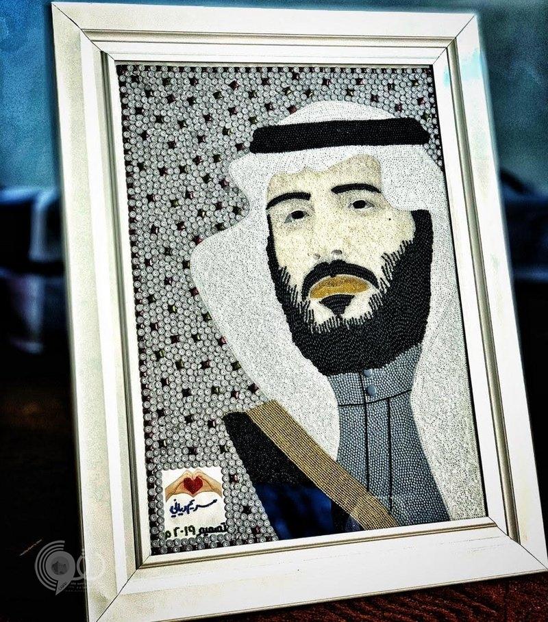 """بـ""""22710″ خرزة .. فتاة جازانية تبدع في لوحة الأمير محمد بن سلمان"""