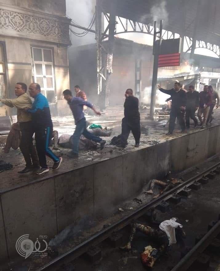 بالفيديو والصور.. اندلاع حريق ضخم في محطة مصر إثر انفجار قطار وسقوط عشرات القتلى وتفحم الجثث!