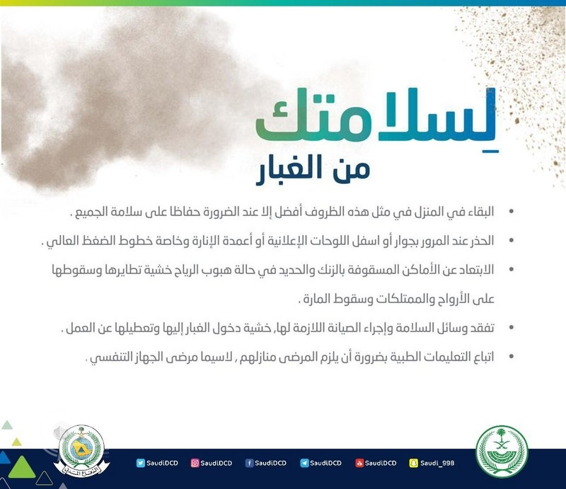 """""""الدفاع المدني"""" يحذّر من التقلبات الجوية على مناطق المملكة"""