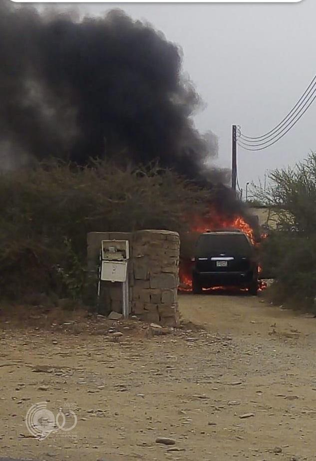 """""""مدني بيش"""" يُباشر إحتراق سيارة مواطن أمام منزله بمركز الحقو – فيديو وصور"""