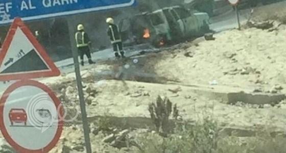 اندلاع حريق هائل في سيارة تقل 7 معلمات أثناء عودتهن من الداير.. تفاضيل