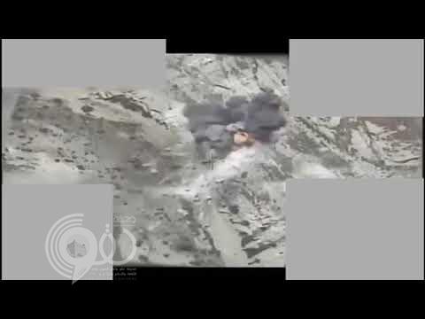 """شاهد .. لحظات حاسمة لضربات جوية فتك فيها """"التحالف"""" بمواقع للحوثيين"""