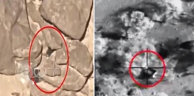 شاهد كيف اصطاد طيران التحالف حوثيين حاولوا الاختباء بين الصخور
