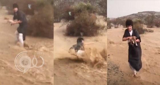 بالفيديو.. طفل يخاطر بحياته وينقذ جراء من السيول