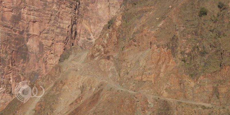"""بالفيديو.. شاهد انهيار ضخم يقطع طريق """"قهر جازان"""" ويعزل السكان"""