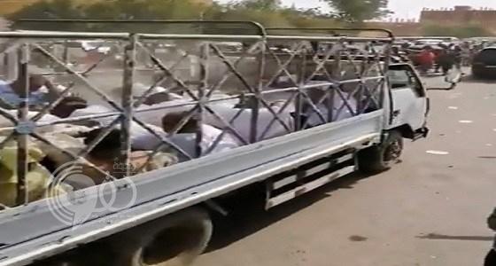 بالفيديو.. شاهد نقل رجال البشير إلى السجن بشاحنات المواشي