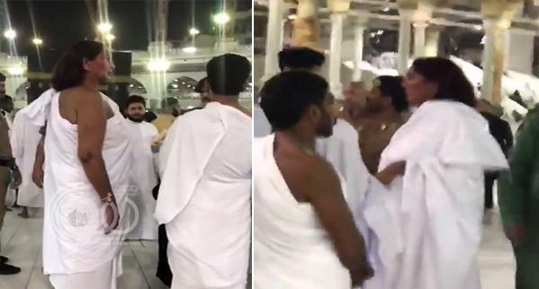 """في موقف غريب .. شاهد : امرأة ترتدي """"إحرام الرجال"""" داخل المسجد الحرام"""