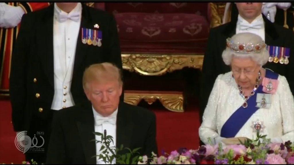 """شاهد .. ترامب ينام أثناء كلمة """"ملكة بريطانيا"""""""