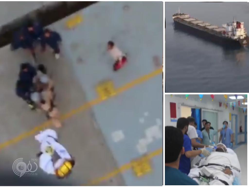 شاهد .. اللقطات الأولى لعملية إخلاء أحد أفراد طاقم السفينة الإيرانية المشبوهة