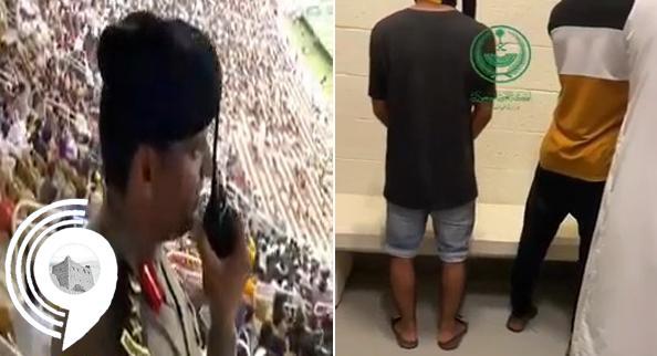 شاهد .. لحظة القبض على جماهير رمَت عُلَب المياه داخل الملعب في مباراة الاتحاد والهلال