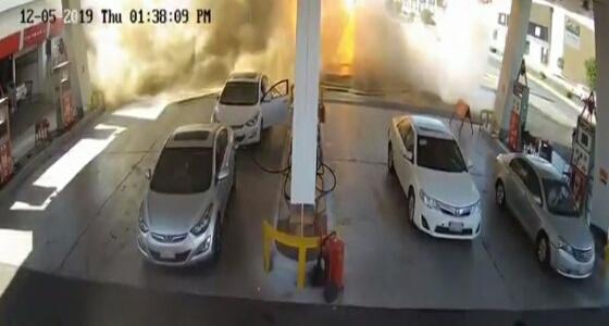 بالفيديو.. لحظة انفجار خزان وقود في محطة بالمدينة المنورة