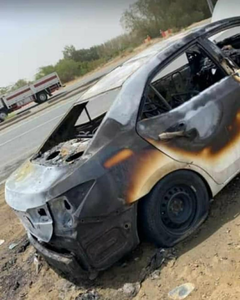 مركز الحقو : أسرة تنجو من الموت بعد إحتراق سيارتهم – فيديو