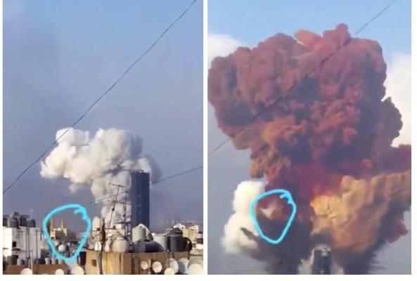 """شاهد: لحظة سقوط """"جسم غريب"""" قبل انفجار بيروت.. وموثقا المقطع يرددان الشهادة"""