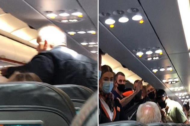 بسبب رفضه إرتداء الكمامه شاهد امرأة تصفع زوجها داخل طائرة – فيديو