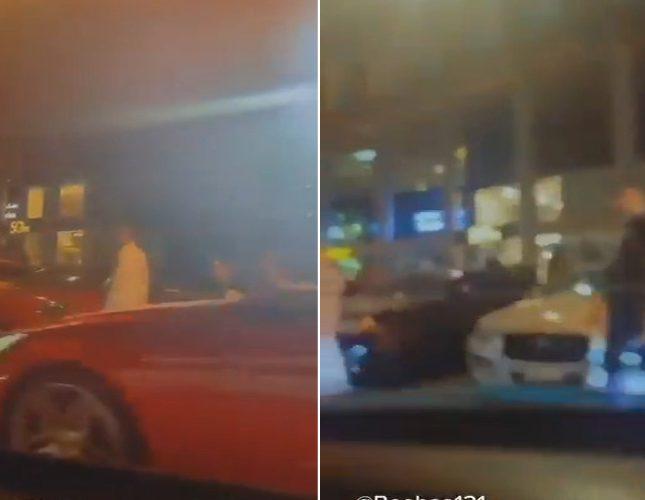 """شاهد .. فتيات داخل سيارة يفاجئن الشبان في أحد شوارع جدة ويرددن : """"جعل الرجاجيل للماحي"""" !"""