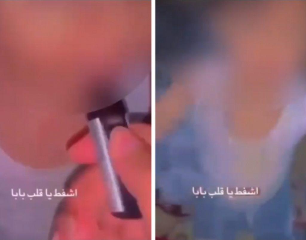 """""""اشفط يا قلب بابا!"""" شاهد .. أب يعطي طفله """"سيجارة إلكترونية"""" ليدخن بإحدى مناطق المملكة"""