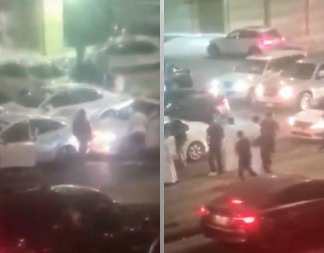 شاهد .. امرأة تعتدي على سائق وتركل سيارته وتتعمد صدمها بالرجوع للخلف