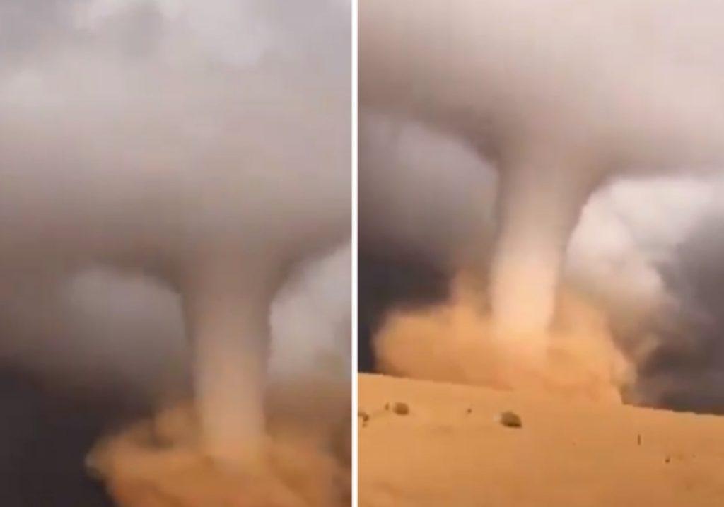 ظاهرة نادرة بالمملكة.. شاهد: إعصار قمعي ضخم يصل ما بين السماء والأرض