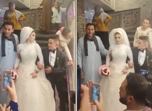 حفل لزفاف أصغر عريس يُثير جدلاً بعد أن بدا فيه العريسُ طفلاً وأقصر من العروس