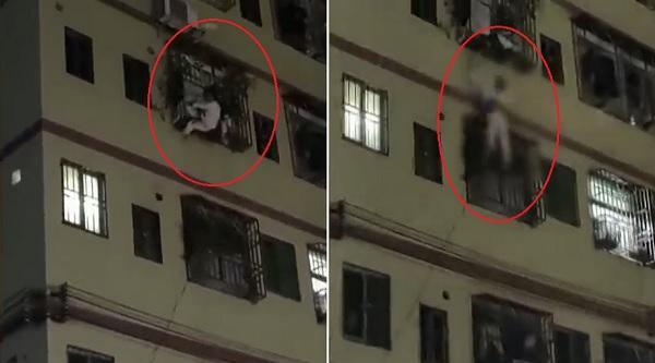 شاهد.. رد فعل سريع ينقذ فتاة سقطت من الطابق الرابع