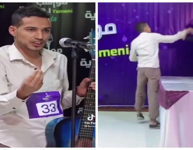 """مغني """"يمني"""" يعتدي على لجنة التحكيم في برنامج مواهب بعد تقييمه بصفر – فيديو"""