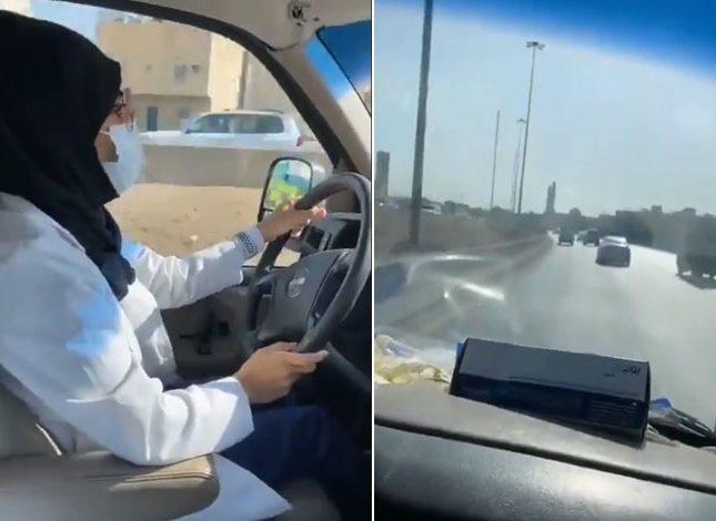 شاهد.. سائقة إسعاف سعودية تنقل أول حالة ولادة