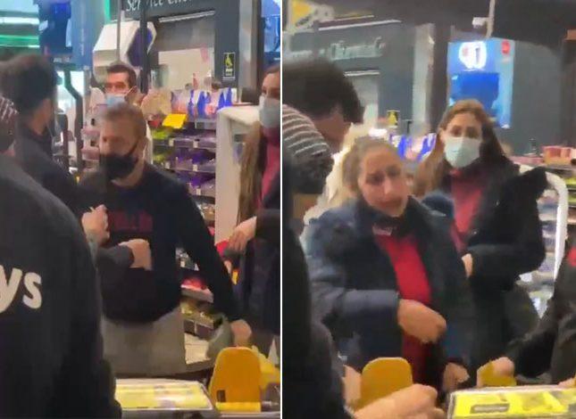 بسبب كيس حليب مدعوم شاهد فيديو لمشاجرة بين شاب وسيدة في أحد المتاجر