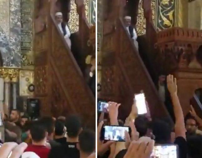 شاهد.. الاعتداء على خطيب المسجد الأقصى ورشقه بالزجاج والكراسي