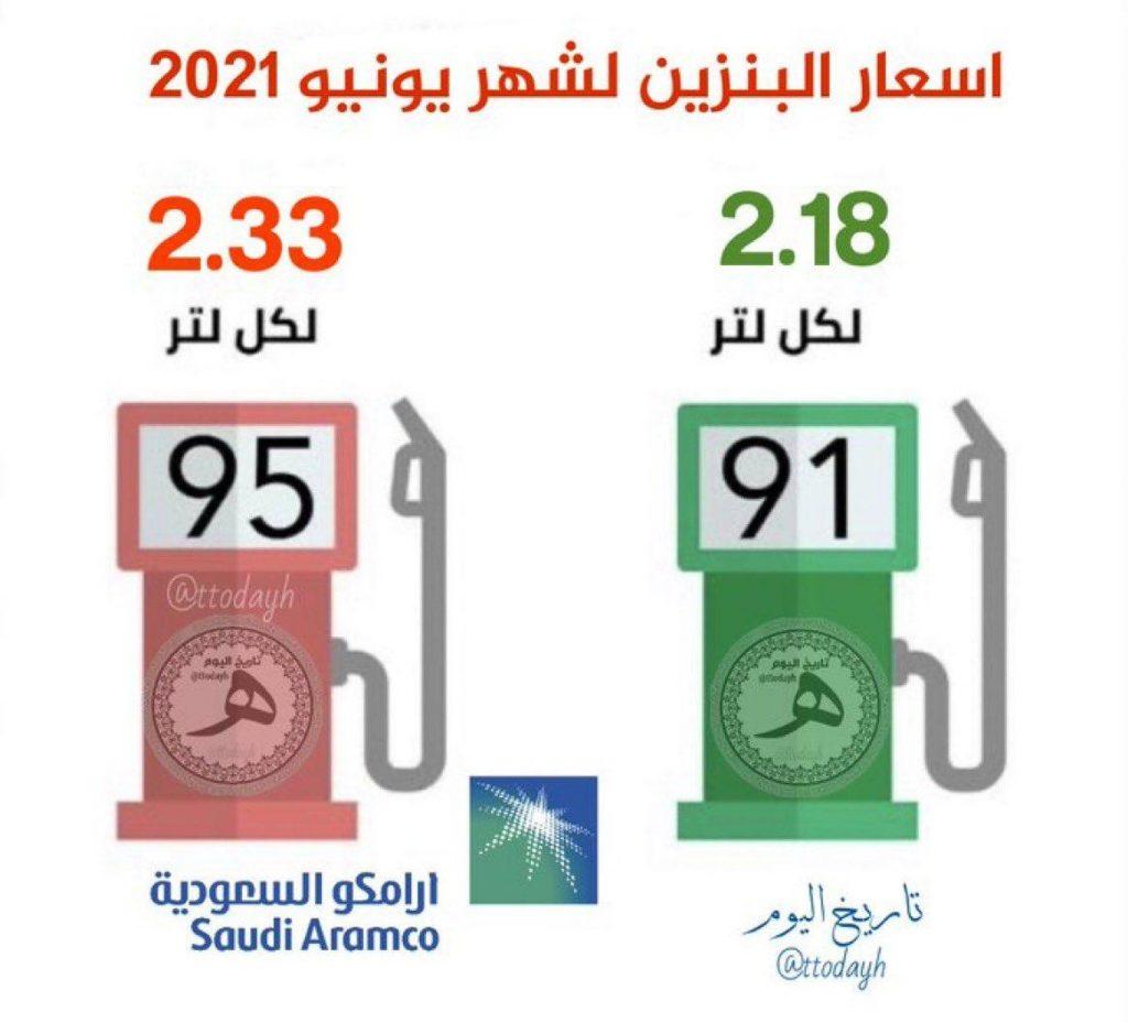 أسعار البنزين لشهر يونيو ٢٠٢١