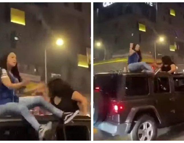 """شاهد.. سقوط مروع لفتاة أثناء احتفالها من أعلى سقف سيارة """"جيب"""""""