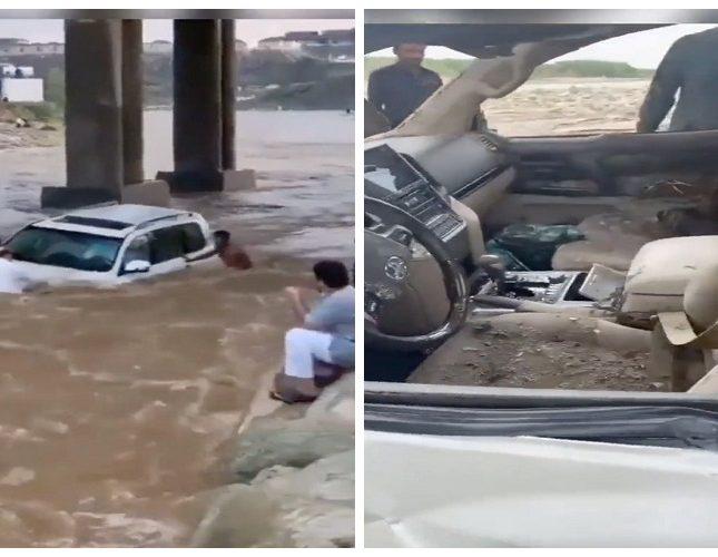 شاهد.. فيديو جديد يكشف الأضرار التي طالت سيارة تعمد قائدها اقتحام سيول وداي جازان